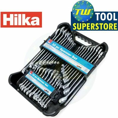 32pc Combination AF/Metric Stubby Spanner Set Polished Ring Spanners 12 Point