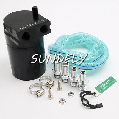 Universal Aluminum Baffled Oil Catch Tank Can Reservoir W/ Fitting & Hose Black
