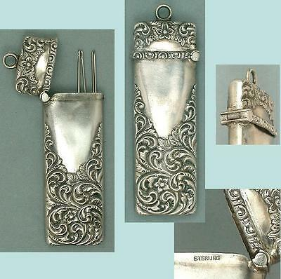 Antique Sterling Silver Floral Chatelaine Needle Case * American * Circa 1890s