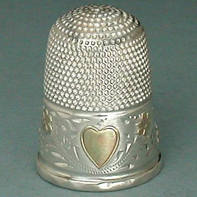Antique English Sterling Silver & Gold Heart & Flowers Thimble * 1894 Hallmarks