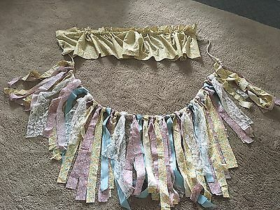 🇺🇸Baby shower banner or gender reveal rag tie garland blue, pink, and  yellow