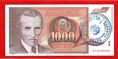 Overprint Specimen Banknote For 1000 Dinars For Bosnia And Herzegovina