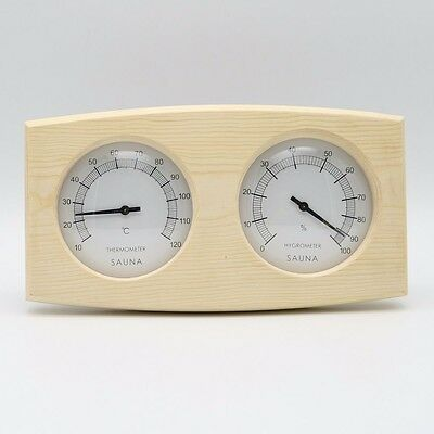 Double Natural  Pine Wood  Thermometer Hygrometer Dimension: 250mm x 130mm