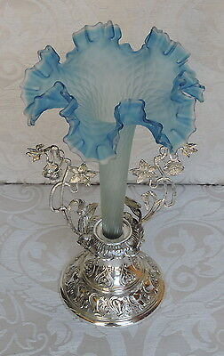 Victorian Epergne, Centerpiece, Blue Glass Vase with Silver Plated Stand, c1900