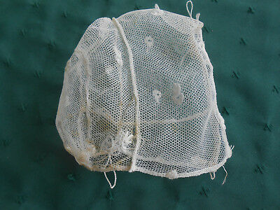 Antique Net Lace Infant Hat With Embroidery, Circa 1915