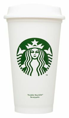 NEW Starbucks Reusable Coffee Tea Cup Tumbler Lid Travel 16 oz Plastic Mug
