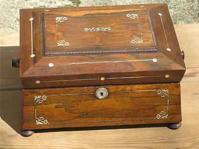 19th FRENCH Regency ROSEWOOD SEWING JEWELRY BOX, Mother of Pearl MOP INLAY
