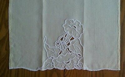 "Vintage 20"" Yellow Linen Tea Towel ~ Hand Embroidery & Cutwork ~ Floral"