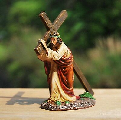 JESUS CHRIST CATHOLIC STATUE FOR HOME IN SACRED AND GOD CRUCIFIX RESIN 11cm