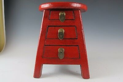 A Chinese Wood Stool Red lacquer with 3 drawers Chair Stool beautiful