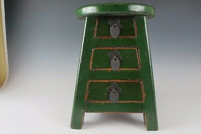 "A Chinese Green Wood Stool  with 3 storage drawers 14"" Height"