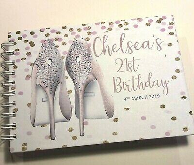 Personalised BIRTHDAY 18 21 30 40 50 MESSAGE/GUEST/PHOTO BOOK*A5*SHOES/CONFETTI