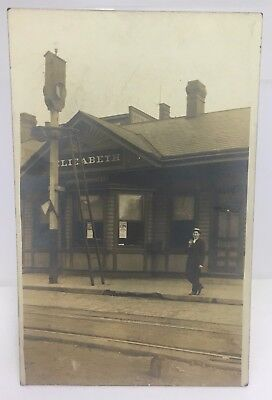 Antique 1907 Elizabeth PA Railroad Train Station RPPC Photo
