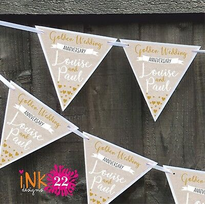 Personalised Golden 50th Wedding Anniversary Party Decoration Banner Bunting