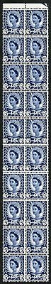 SGW11 5d Royal Blue Block of 20 with Dr Blade Flaw U/M