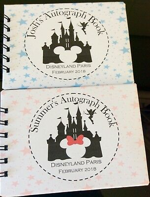 Personalised Disney Autograph Book - Minnie - Mickey CASTLE - A6 Pocket Size