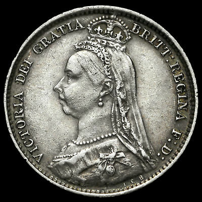 1890 Queen Victoria Jubilee Head Silver Sixpence, Scarce, GVF+