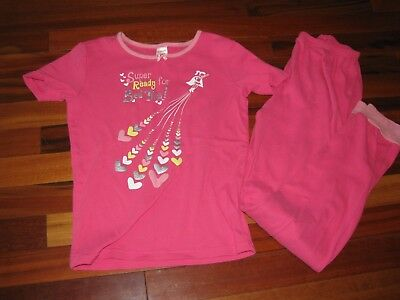 Gymboree gymmies pajamas PJs super girl pink short sleeve pants 10 12 GUC