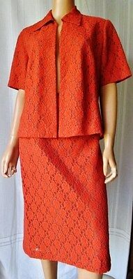Tailleur Sartoriale Completo Gonna + Giacca Vintage In Pizzo Foderata Tg.xl