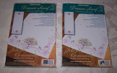 Violets Nosegay ~ Dresser Scarf ~ Stamped Embroidery NIP ~ Lot of 2