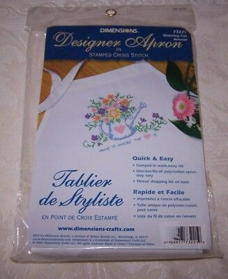 Watering Can ~ Designer Apron ~ Stamped Cross Stitch ~ NIP ~
