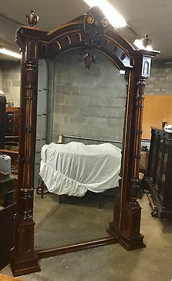 "Large Renaissance Incised Walnut Hall Mirror, 120"" Tall"