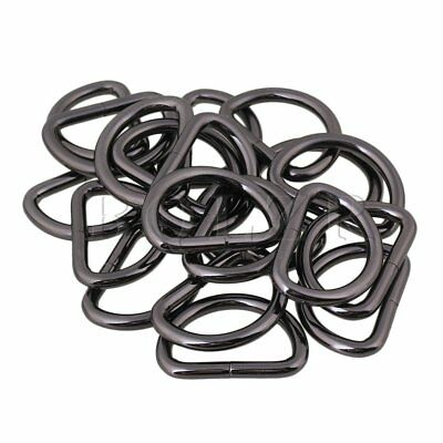 BQLZR 20pcs Black 3.2cm Inside Dia Metal D Ring Buckles Bag Belt DIY Tools
