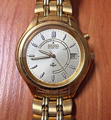 SUPERB VINTAGE 1995 SEIKO KINETIC SAPPHIRE 5M42-0A19 WATCH (New Capacitor)