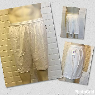 USA Vintage NOS RUSSELL ATHLETIC Men's Gym Shorts NWT White Size L 100% COTTON