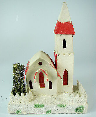 Antique Cardboard Church - Japan - Putz Or Christmas Garden Displays - Excellent