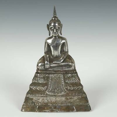 Antique Seated Buddha Clay Silver Burma Laos Thailand S.e. Asia Buddhism 19Th C.