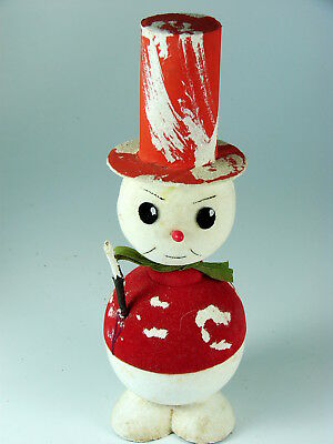 PAPER MACHE' SNOWMAN w STICK CANDY CONTAINER - U. S. ZONE GERMANY -  MUSICAL