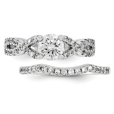 14k White Gold Diamond Engagement Ring Wedding Band Set 1 63 Carat