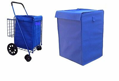 grocery folding shopping cart (LINER)  jumbo size  with cover color blue