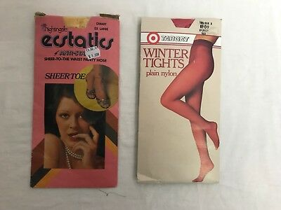 2 x packs vintage pantyhose size X-Large colours Red and Canary