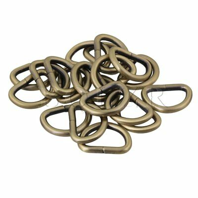 BQLZR 20pcs Metal D Ring Buckle D-Rings 2.5cm Inside Diameter Bags Belt Straps