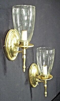Pair Of Mid Century Classical Oval Back Brass Sconces With Hurricane Shades