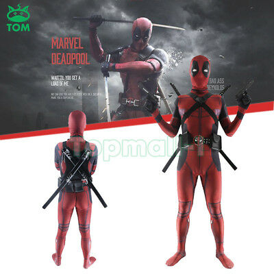Kids Deadpool Halloween Cosplay Costume Marvel Comic X Men Superhero Anti Hero