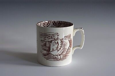 An Antique English Oversized Transfer Printed Chaps Mug Cup By York Tyke England