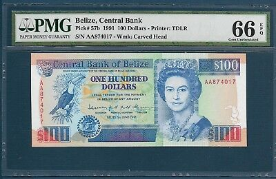 Belize 100 Dollars, 1991, P 57b, PMG 66 EPQ Gem UNC / Highest grade (pop 1/2)