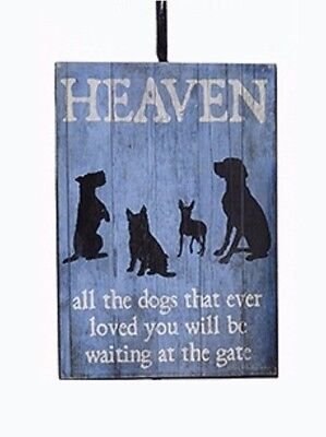 """Ksa Wooden Pet Loss Plaque Ornament """"heaven-All The Dogs That Ever Loved You..."""""""