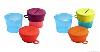 Boon Toddler Feeding SNUG Snack Pink Or Green Baby Sippy Cups Lids BPA PVC Free