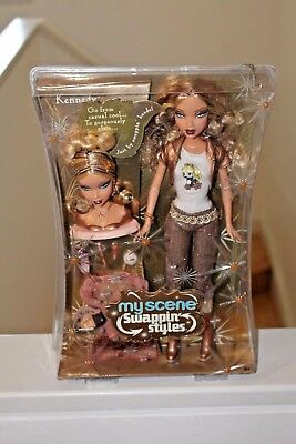 Barbie My Scene Kennedy Swappin Style Doll Curly Highlighted Hair Glam Head Rare