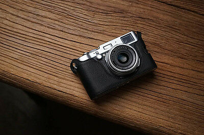 Genuine real Leather Half Camera Case Bag Cover for FUJIFILM X100 X100S X100T BL