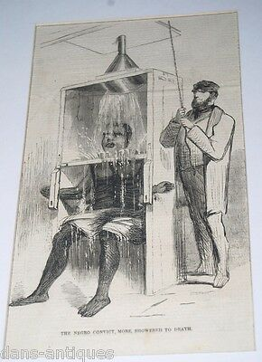 1858 Harpers Weekly print THE NEGRO CONVICT, MORE, SHOWERED TO DEATH - Torture