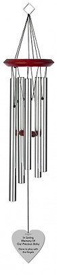 Chimesofyourlife ch-heart-19-silver Child Heart Memorial Wind Chime, 19-Inch, Si