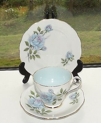 Royal Standard Bone China England Fascination Blue Rose Trio Cup Saucer Plate