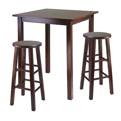 Winsome Wood Parkland High Table with 29-Inch Square Leg Stools Walnut, 3-Piece