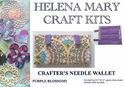 Helena Mary Crafters Needle Wallet Kit Complete Kit - Purple Blossoms