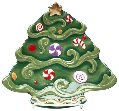 Appletree Design Christmas Tree Dessert Plate Set of 4, 8 by 8-Inch